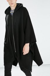 Wholesale Hooded Cloak Trench - Wholesale- 2017 Harajuku Gothic Clothing British Style Fashion Mens Wool Cloak Cape Long Black Hooded Trench Coat Men Windbreaker Overcoat