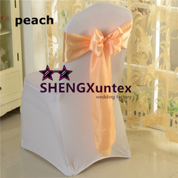 Wholesale Chair Covers Peach Sash - Peach Color Satin Chair Bow \ Sash On Lycra Chair Cover Good Quality