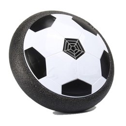Wholesale Soft Soccer Balls - New Kids LED Air Power Soccer Indoor Floating ABS Football Foam Bumpers LED Light Ball Soft and Safe Family Toy Hovering and Gliding
