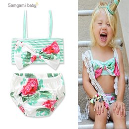 Wholesale Swimsuit Striped - Baby Girls Flora Bathing Cyan Color Big Bow Big Flower Printed Striped Two-piece Bikini Infant Toddler Girls' Swimsuits