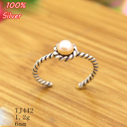 Wholesale sterling silver blank rings - 100% 925 sterling-silver-jewelry Adjustable Ring Blank Inner 6MM Setting Round Stone Antique Silver Classical platin