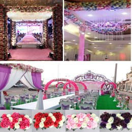 Wholesale Display Rows - 1Set Artificial Flower Row Diy Silk Flower Wedding Arch Road Lead All Various Types Decoration For Home Hotel Party Decor Diy