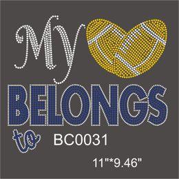 "Wholesale Elements 11 - BC0031# 11""Wx9.46""H My Rugby to Belongs custom rhinestone transfer designs DIY on t-shirt 30piece"