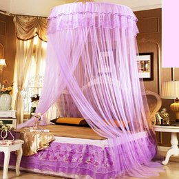 Wholesale Princess Curtains - 110*270*1280Cm Mosquito Net Bed Net Mosquito Curtain High Density Round Lace Double Bed Nettings Magic Princess Bedding Ceiling Nets