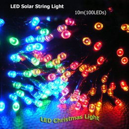 Wholesale Christmas Ornaments For Garden - Wholesale- 10m Solar Powered 100LED Ornament Lighting Outdoor Starry Fairy String Light for Christmas Home Garden Party Yard Decorating