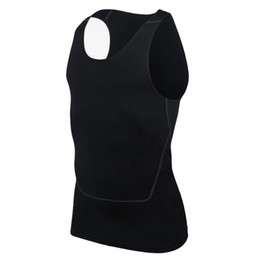 Wholesale Workout Tanks - Fashion Men Compression Breathable Vest Shirts Base Line Black White workout Fitness Sleeveless Shirt Bodybuilding Tank Tops S-2XL