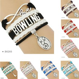 Wholesale Metal Bowl Piece - (10 Pieces Lot)Infinity Love Bowling Metal Charm Leather Wrap Cuff Bracelets For Women Men Girl Jewelry Drop Shipping