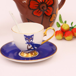 Wholesale Porcelain Cup Saucer Set - Noble Luxury Bone China Coffee Cup And Saucer Spoon Set Ceramic Mug 200ml Advanced Porcelain Tea Cup Tray For Gift Cafe Party