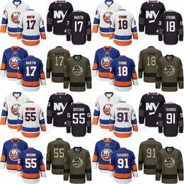 Ryan strome онлайн-2017 мужчины Нью-Йорк Айлендерс 17 Мэтт Мартин 18 Райан Стром 55 Джонни Бойчук 91 Джон Таварес хоккейные майки сшитые.
