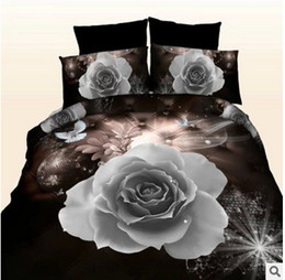 Wholesale Dark Duvet - Black Rose Bedding set 3D quilt duvet cover bed sheet spread bedspread linen Queen size Full double Roses Department Store 4PCS