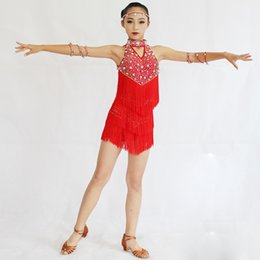 Wholesale latin dance show - Latin Tassel Dance Skirt For Girls Good Quality Custom Made Children Stage Show Rumba Sumba Latin Competition Dancing Dress