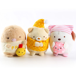 "Wholesale San X Wholesale - EMS New 3 Styles 7"" 18CM San-X Sumikko Plush Doll Cartoon Corner Animals Pajamas Nightcap Stuffed Party Gifts Soft Plush Toys"