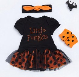 Wholesale Tutu Leggings Dots - 2017 girls boutique clothing newborn clothes baby rompers onesie + headbands + polka dot leggings outfits halloween costumes tutus jumpsuits