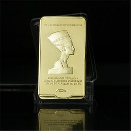 Wholesale Pure Folk - 1 OZ Bar Egypt Queen Cleopatra VII Philopator Pyramid PURE .999 Gold Plated Layered Ingot BuIlion Bar