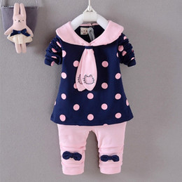 Wholesale Top Selling Leggings - Spring Top Selling Baby Clothing Dots Printed Round Collar Shirt+Leggings Girls 2pcs Set Kids Cutie Pants Set Baby Casual Outfit Q0745