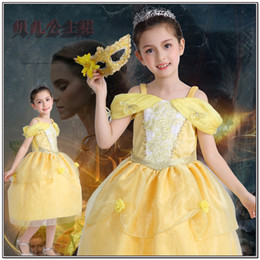 Wholesale Girls Crown Dress - Kids Girl Beauty and Beast Cosplay Costume 4Pieces Sets Belle Princess Dress+Crown+Magic Wand+Mask Children Girl Clothing