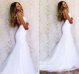 Wholesale Tulle Mermaids Spaghetti Straps Wedding Gowns - Lace Mermaid Wedding Dresses Sweetheart Spaghetti Straps Tulle Backless Beach Wedding Gowns Sexy Bridal Dresses Sweep Train