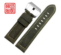 Wholesale 26mm Panerai - Wholesale-Men's luxury Leather Watchbands, Fashion Handmade Bracelet, Green 24MM 26MM Strap For Panerai, Fast Delivery
