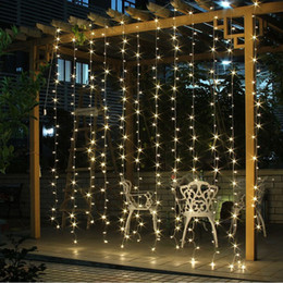 Wholesale Christmas Light Curtains - Wedding Decoration light 3Mx3M 300leds led curtain string fairy light 300 bulb Xmas Christmas Wedding home garden party decoration