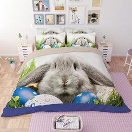 Wholesale Quilt Pictures - Cute Rabbit Picture Digital Printing Home Textiles Personality Quilt Twin Queen King Size 3D Polyester Bedding Sets Never Fade 4pcs