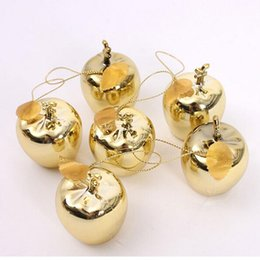 Wholesale Red Apple Trees - 12Pcs Apples Christmas Tree Decorations Party Events Fruit Pendant Christmas Hanging Ornament Red Golden