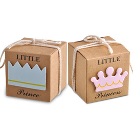 Wholesale Chinese New Year Decorations Box - Princess or Prince Candy Box Kraft Paper Baby Shower Gift Boxes Wedding Party Decoration Faovrs Yellow color New