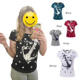 Wholesale Ladies Anchor Shirt - Wholesale- ZSIIBO Summer tops tees ladies short t shirt women navy style Boat anchor t-shirt woman clothes plus size vestidos NV07-ba