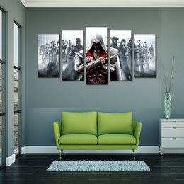 Wholesale Textured Unframed Wall Art - 5pcs set Unframed Assassin's Game Poster Wall Art Oil Painting On Canvas Fashion Textured Abstract Paintings Picture Living Room Decor