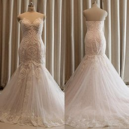 Wholesale Net Mermaid Wedding Dresses - Mermaid Wedding Dress Pearls Lace Applique Sweetheart Sleeveless Net Bridal Gown Plus Size Sweep Train Boho Bridal Gown Cheap Free Shipping