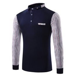 Wholesale Animal Rights Fashion - Men's Business T-shirt Panelled Long-sleeved Men's Contrast Color T-shirt Striped Sleeve Bottom right fixed pocket T-Shirt