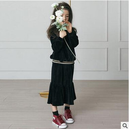 Wholesale Korean Long Skirt Wholesale - Children princess outfits Autumn Girls Korean velvet pure color pullovers+Falbala long skirts 2pcs Leisure sets Kids fashion clothes C1758