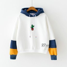 Wholesale Korean Cute Color - Autumn and winter Korean embroidery small cactus hit color sleeve loose velvet hooded female students cute