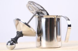Wholesale Wholesale Milking Machine - 400ml double layer stainless steel espresso latte cappuccino milk bubbler coffee pot coffee pot Bubbler Machine Frother Double Froth Pump