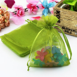 Wholesale Organza Bags 5x7cm - Wholesale-500pcs lot Olive Green Organza Bag 5x7cm Mini Coin Jewelry Packaging Bag Wedding Christmas Drawstring Gift Bag Organza Pouches