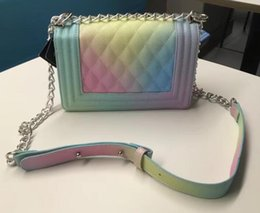 Wholesale rainbow small - Brand rainbow bag handbags new hit color Ling grid shoulder bag Messenger bag simple chain package