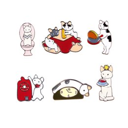 Wholesale Cartoon Clothes Button - Wholesale- Free Shipping Cartoon Cute Cat Brooch Pins Button Pin Jeans Clothes Decoration for women Gift Fashion Jewelry