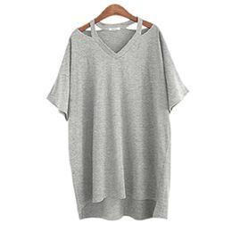 Wholesale Moda Casual Mujer - Wholesale-New Plus Size 5xl Loose Poleras De Mujer Moda 2016 Sexys Summer Pure Cotton T-shirt Women Asymmetrical Tee Shirt Feminina C521