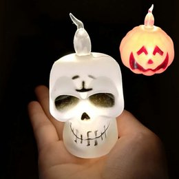 Luci della testa della zucca di halloween online-Creativo LED Candle Light Halloween Ghosts Pumpkin Skull Head Lampada Bougie Plastica Elettronico Divertente Night Lights Durevole 1mw B R
