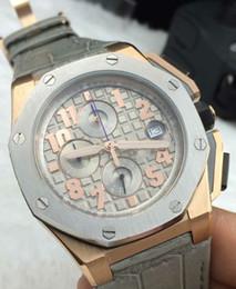 Lujo AAA Top Quality Offshore Brand New 18k Rose Gold Quartz Cronógrafo para hombre Sports Watch Smoke Gray Hombres pulsera para reloj de pulsera de cuero desde fabricantes