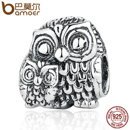 Wholesale Sterling Silver Necklace Owl - Wholesale- BAMOER Vivid 100% 925 Sterling Silver Charming Owls Animal Screw Charms fit Bracelets Necklaces Beads & Jewelry Makings PSC036