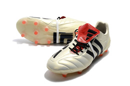 Wholesale Champagne Black Lace Shoe - 2017 100% Original White Black Mens Predator Mania Champagne Football Boots Champagne FG Soccer Shoes Best Quality Soccer Cleats