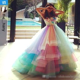 Wholesale Rainbow Long Sleeve Dresses - 2017 Colorful Rainbow Prom Dresses A Line Sweetheart Off Shoulder Prom Gowns Lace Up Back Soft Tulle Bridal Party Gowns Custom Made