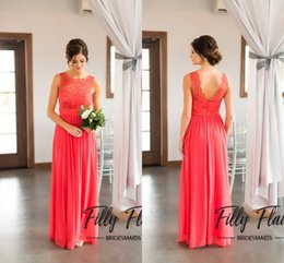 Cheap Bridesmaid Dresses Under 100 2018 Classic Beach Country Garden Chapel Casual Weddings Coral Blue Chiffon Wedding Guest Dress