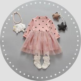 Wholesale Toddlers Polka Dots Dresses - Baby girls princess dress 2017 new spring toddler kids polka-dots mesh gauze dress infant long sleeve tutu dress baby cute clothes C0824