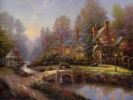 Wholesale Country Landscape Paintings - Thomas Kinkade Landscape Oil Painting Reproduction High Quality Giclee Print on Canvas Country Garden Villa Modern Home Wall Art Decor Gift