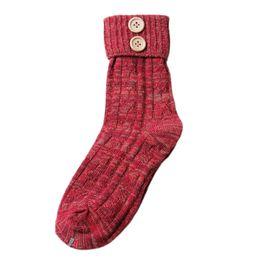 Wholesale Cashmere Socks Wholesale - Wholesale-Women's Warm Knitted Cashmere Socks Retro Elastic Flanging short Socks Vintage flanging Buttons wool socks