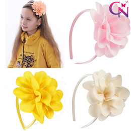 Wholesale Baby Flower Headbands Children Hairbands - 15 Colors Girls Flower Hairbands Solid Ribbon Bows Baby Hair Bands Ribbon Band Children Hair Accessories