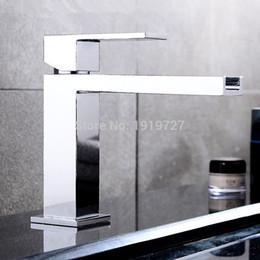 Wholesale Unique Bathrooms - Wholesale- New Luxurious Exclusive Design Unique Shape Square Metal Single Lever Waterfall Faucet Lavatory Wash Wels Bathroom Mixer Tap