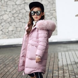 Wholesale Teenage Coats - 2017 New Girls Long Padded Jacket Children Winter Coat Kids Warm Thickening Hooded down Coats For Teenage Outwear free shipping