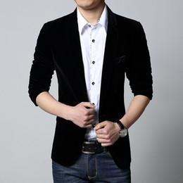 Wholesale Popular Blazers - Wholesale- Men blazer slim fit suit jacket spring autumn outerwear coat men tops single button clothes high grade fabric popular blazers